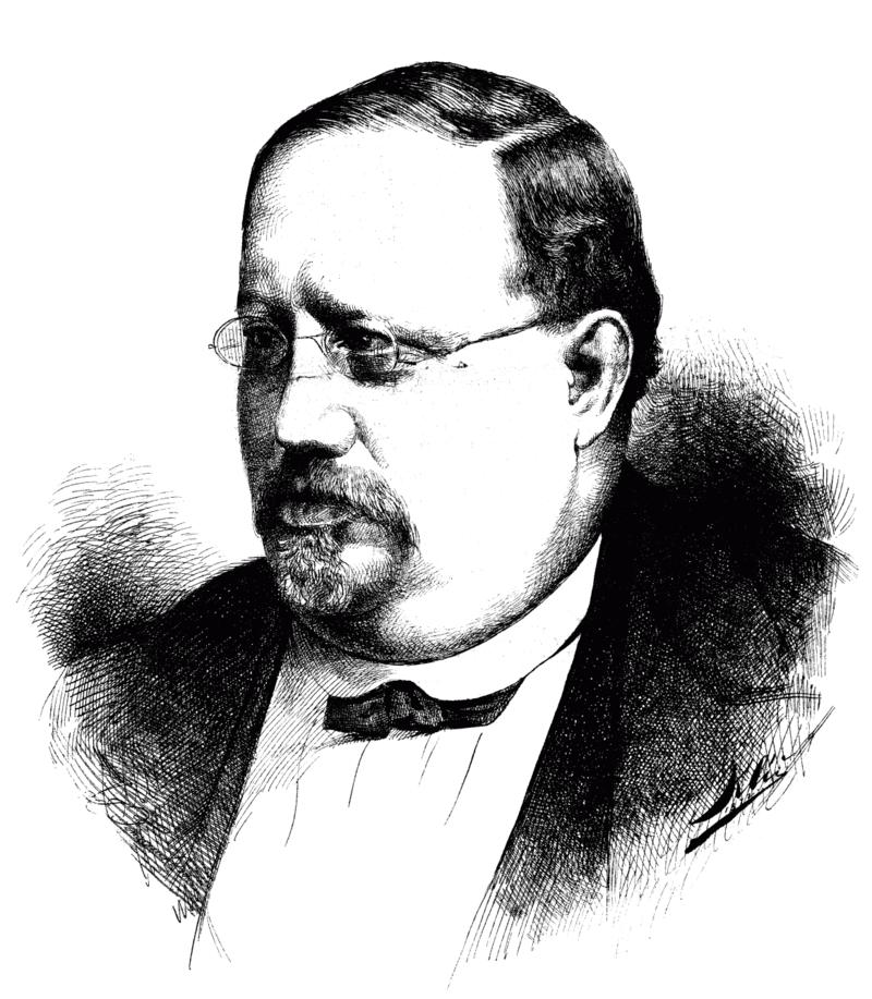 """Anton Langer in 1872, as drawn by Karl Klietsch. (Photo: From the magazine """"Der Floh"""")"""