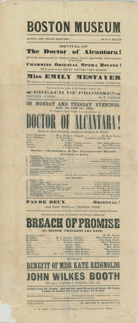 "A small broadside announcing a revival performance of ""Doctor of Alcantara,"" circa 1863. (Photo: Abraham Lincoln Book Shop, Chicago)"