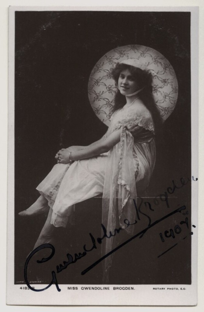 Gwendoline Brogden, photographed by The Dover Street Studios Ltd, published by Rotary Photographic Co Ltd postcard print, circa 1907. (Photo: National Portrait Gallery, London)