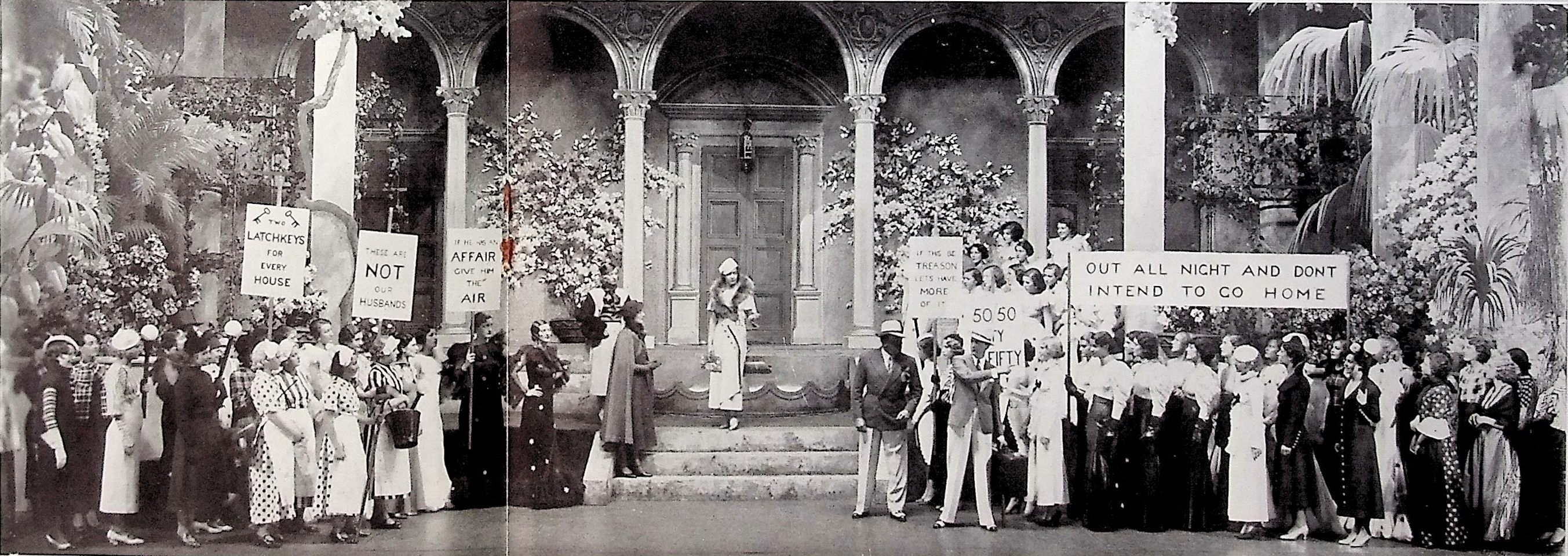 "Admirers of the Marquise's actions gather in from of her house in support in act 3 of ""Ball at the Savoy."" (Photo: Thomas Krebs Archive)"