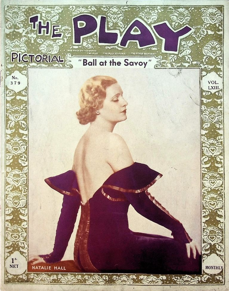 "Natalie Hall as the Marquise de Faublas in London's ""Ball at the Savoy"" production, on the cover the ""The Play Pictorial,"" 1933. (Photo: Thomas Krebs Archive)"
