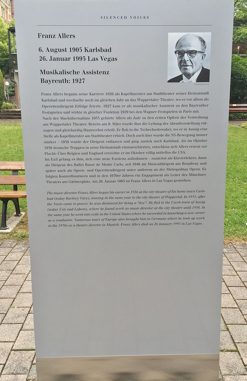 """A commemorative plaque for Franz Allers at the Bayreuth Festival where he worked in 1927 before becoming a famous Broadway conductor. This plaque was part of the exhibition """"Verstummte Stimmen - Die Bayreuther Festspiele und die 'Juden' 1876 bis 1945."""" (Photo: Christian Michelides / Wikipedia)"""