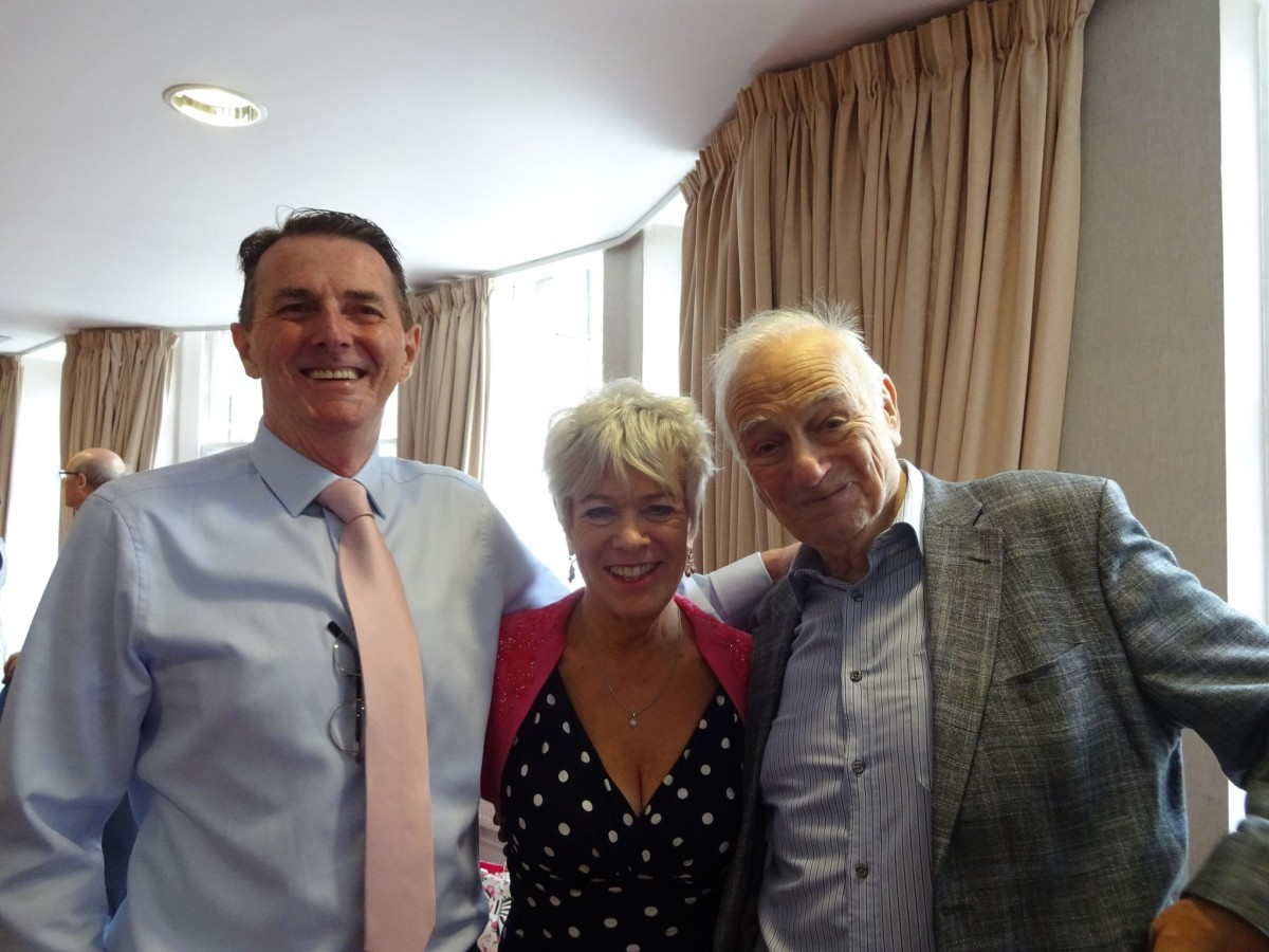 Biographer David Slattery-Christy (l.) with Rosemary Ashe and Roy Hudd. (Photo: David Slattery-Christy Archive)