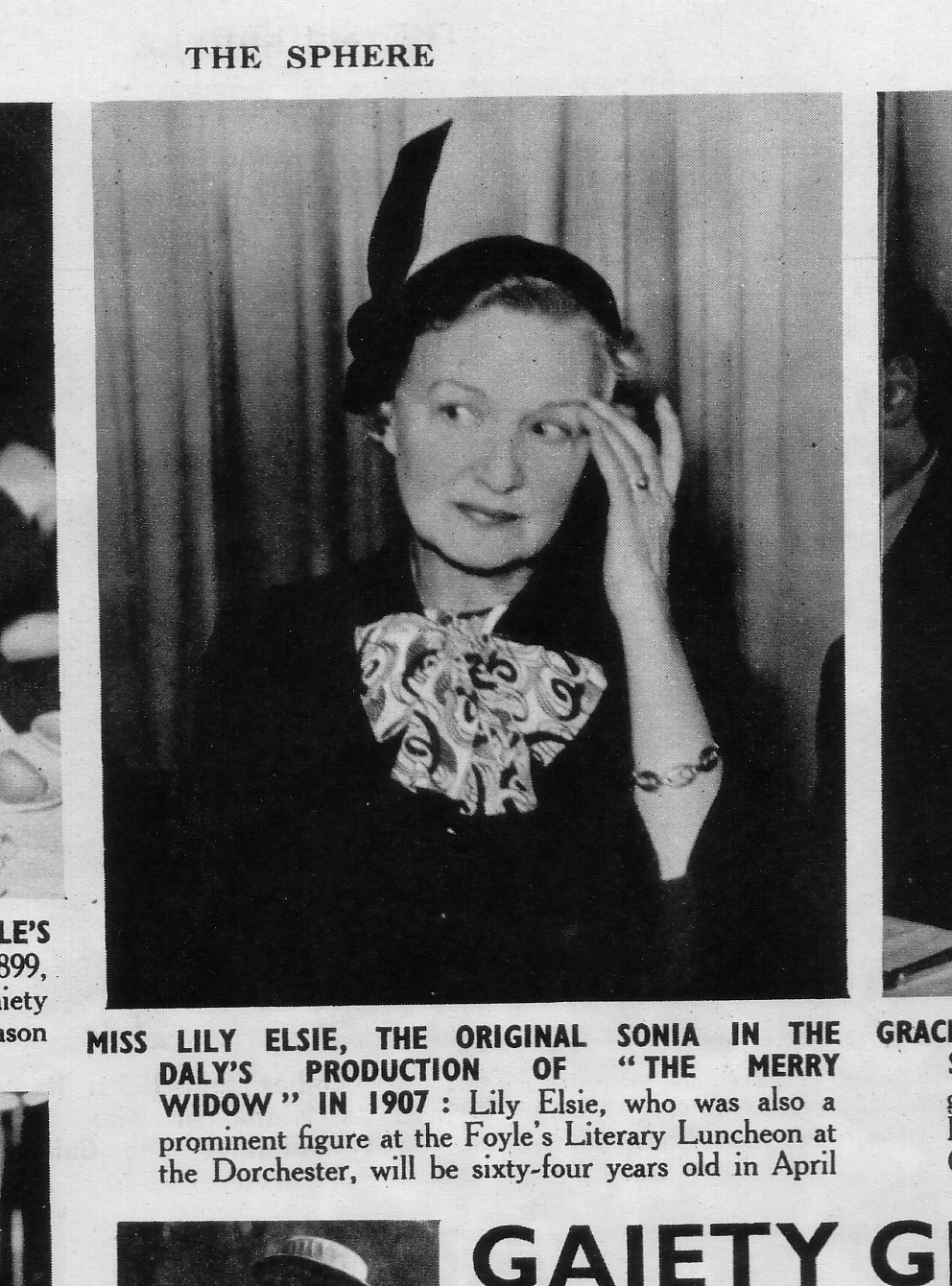 "The newspaper ""The Sphrere"" reporting on Lily Elsie's 64th birthday and showing her in older age. (Photo: David Slattery-Christy Archive)"
