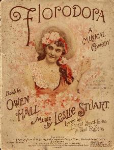 "Sheet music cover of ""Florodora"" with music by Leslie Stuart."