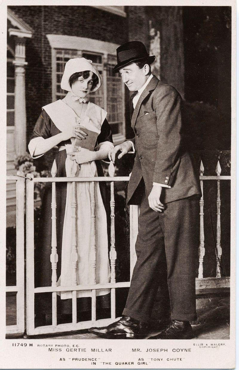 "Joseph Coyne as Tony Chute with Gertie Millar as Prudence in ""The Quaker Girl,"" London 1910. (Photo: Ellis & Walery Studio)"