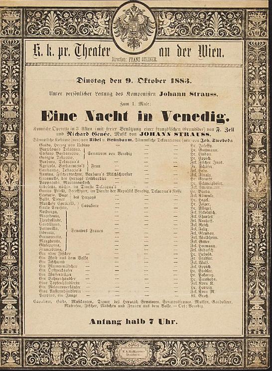 """Playbill for the 1883 premiere of """"Eine Nacht in Venedig"""" at Theater an der Wien. (Photo: Theatermuseum Wien)"""