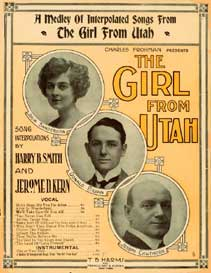 "Sheet music cover for a medley from ""The Girl from Utah,"" with Donald Brian in the middle."