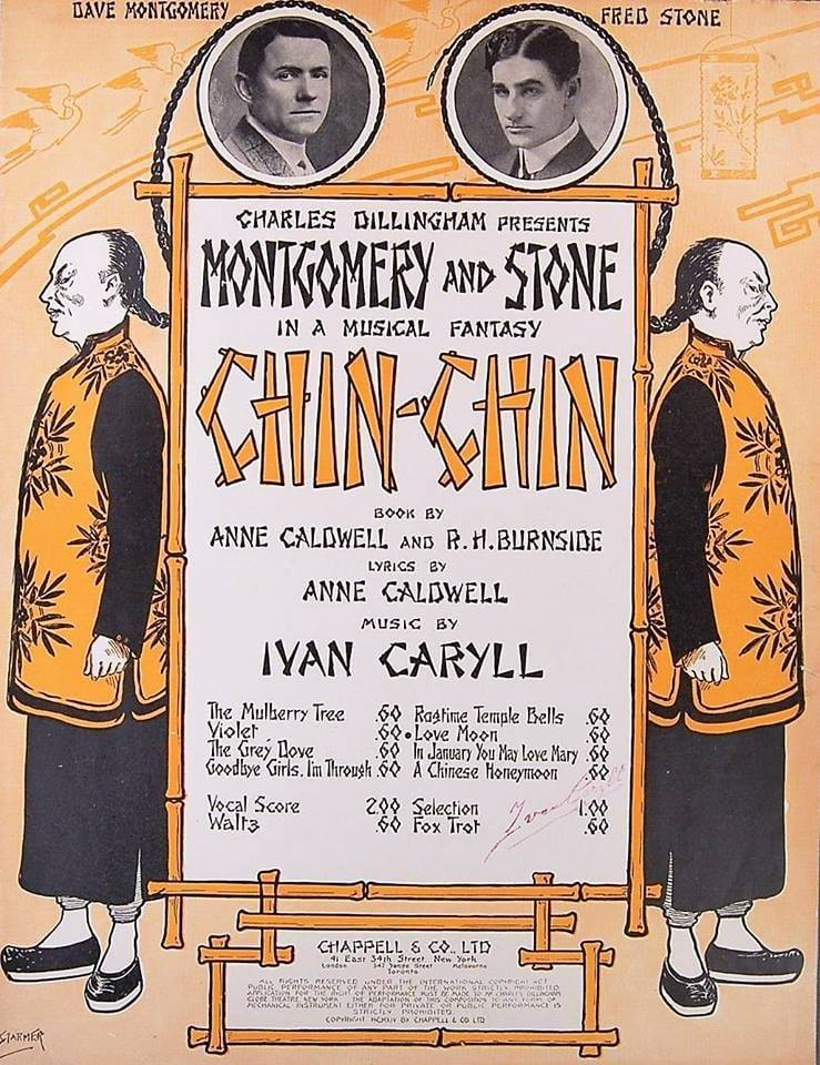 """Sheet music cover for various songs from """"Chin Chin."""""""