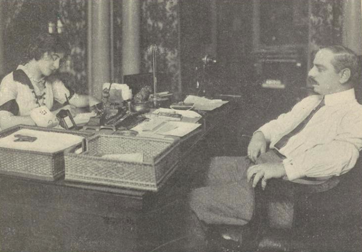 """Marcus Loew transformed vaudeville by creating a vast chain of neighborhood small-time """"pop"""" theaters. Loew pionieered the use of movies to keep down the cost of live entertainment. Here he's seen in his 42nd Street office, 1914. (Photo:  New York Public Library)"""