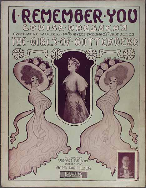 """Sheet music cover for """"I remember you"""" from Ivan Caryll's """"The Girls of Gottenberg."""""""