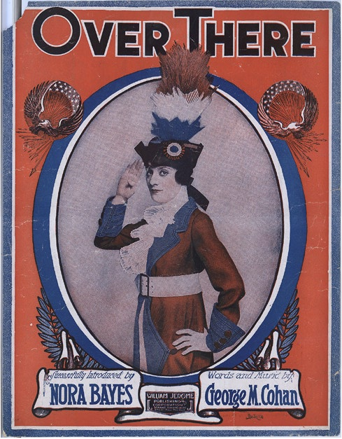 """Nora Bayes on the cover of a 1917 sheet music of """"Over There."""""""