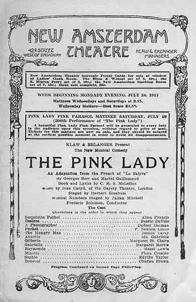 """Program for """"The Pink Lady"""" at the New Amsterdam Theatre."""