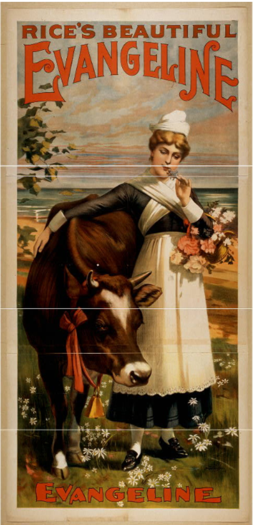 """Poster for Edward E. Rice's """"Evangeline"""" showing the heroine with the famous dancing heifer (Photo: Library of Congress)"""