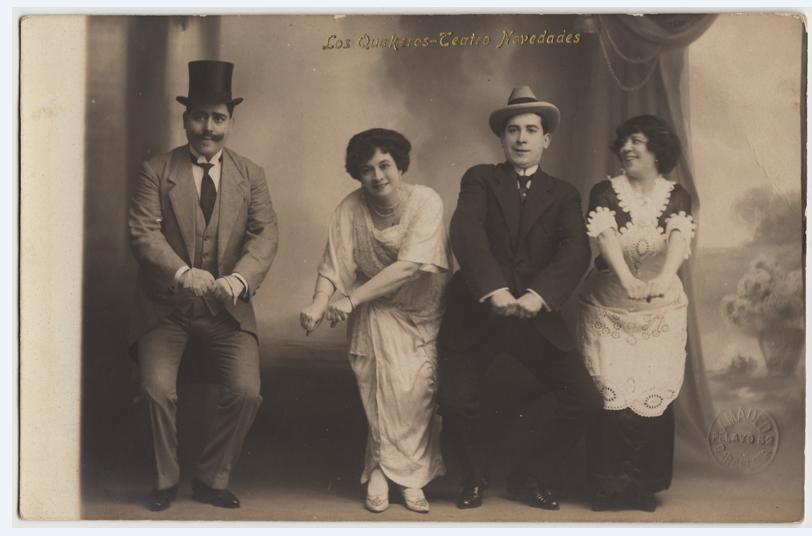 """Juanita Manso, Enrique Ramos, Srta. Marín and Sr. Llobregat in """"Los Quákeros"""" by Lionel Monckton, Barcelona, 1914. (Photo: Ignacio Jassa Haro Collection)"""