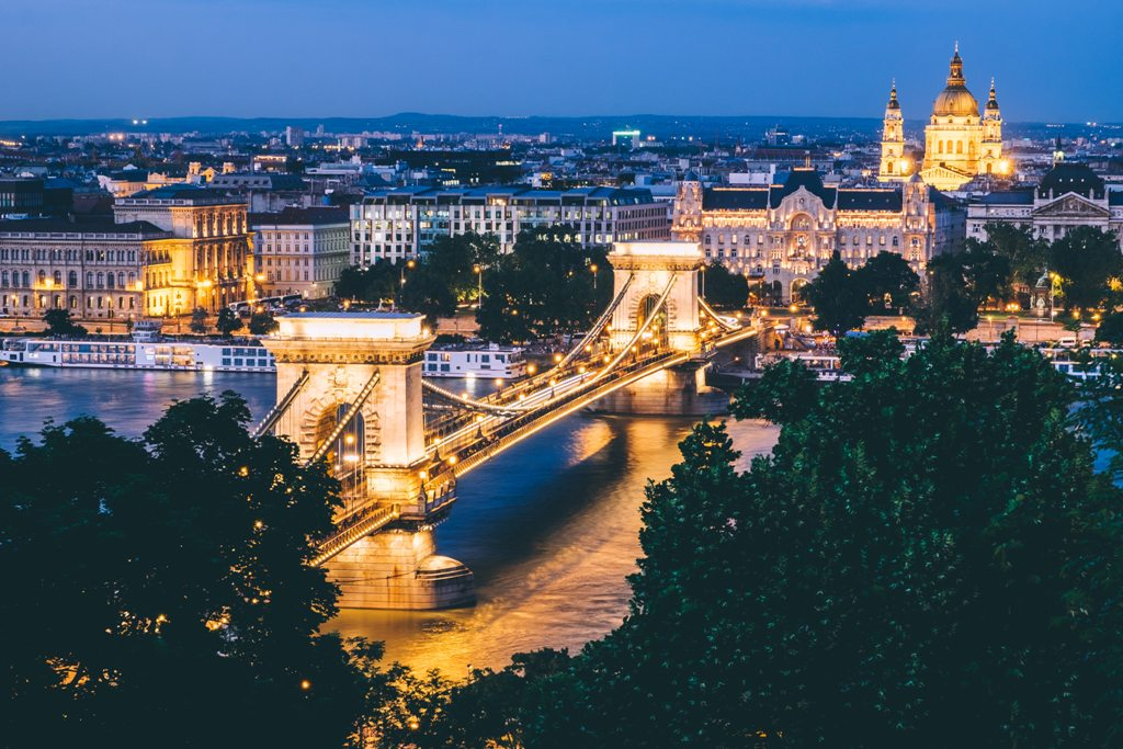 A view of Budapest at night. (Dan Freeman / Unsplash)