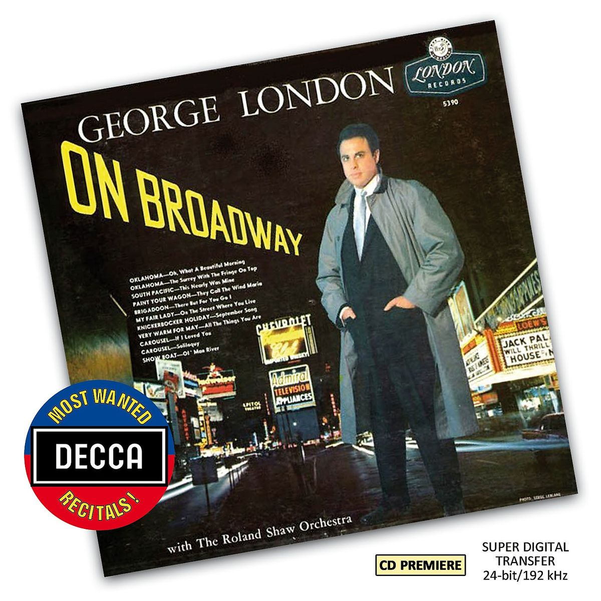 """George London's """"On Broadway"""" album in Decca's """"Most Wanted"""" series."""