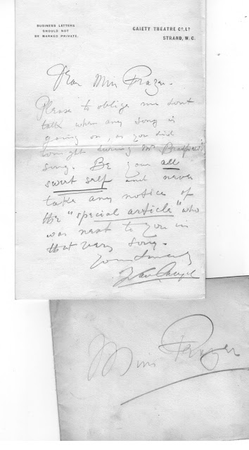 A letter by Ivan Caryll on Gaiety Theatre headed paper. (Photo: Kurt Gänzl Archive)