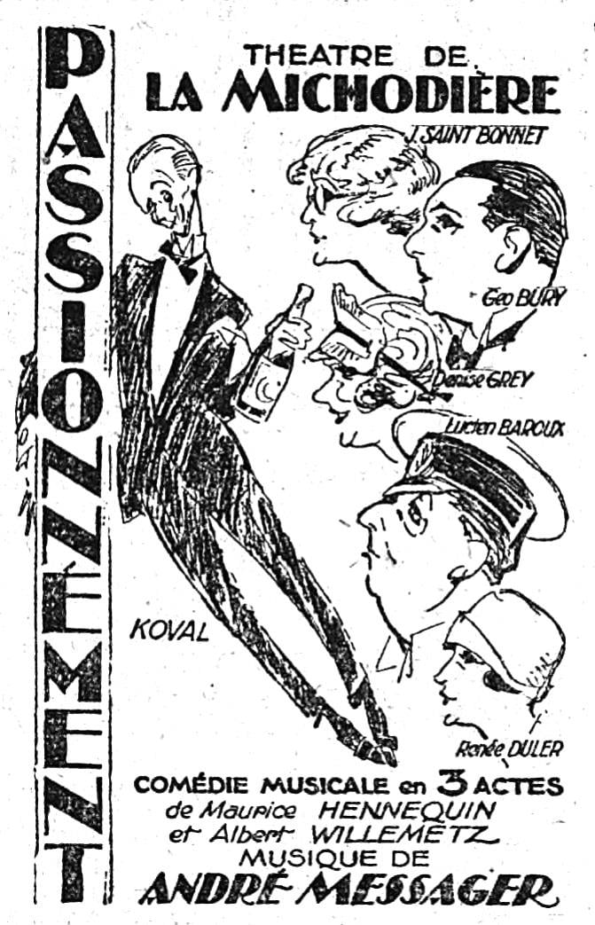 """The main characters from """"Passionnément!"""" as seen in the newspaper """"Le Matin"""" in January 1926."""