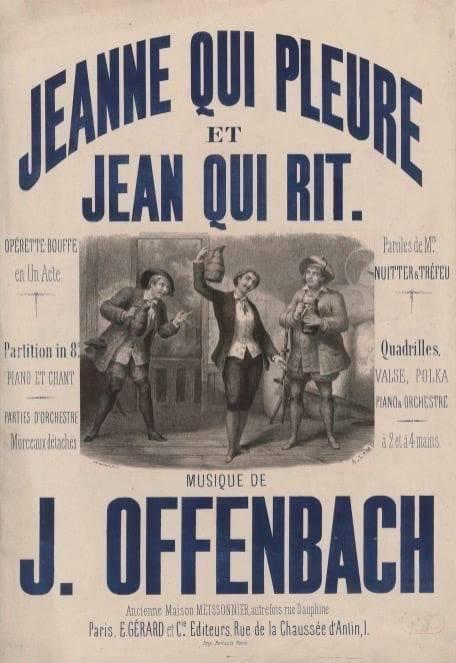 """Poster for Offenbach's """"Jeanne qui pleure et Jean qui rit."""""""