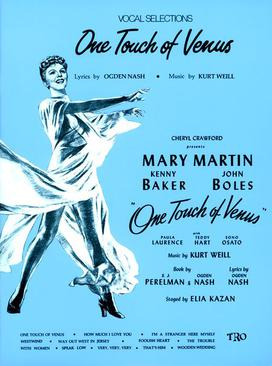 """Sheet music cover for """"One Touch of Venus"""" showing Mary Martin in the title role."""