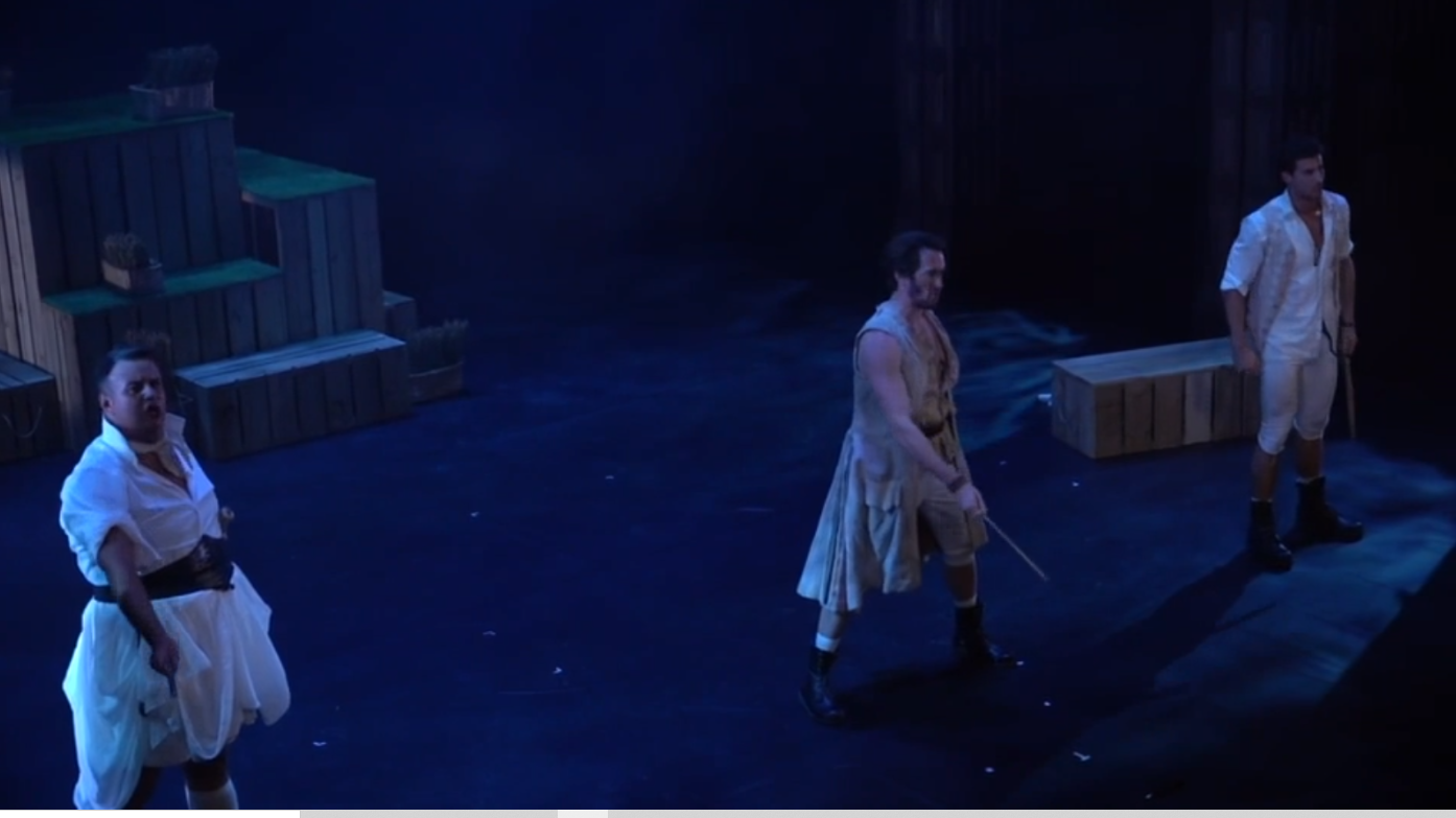 """A most ingenious paradox"": the trio Ruth, Pirate King and Frederick in Sasha Regan's ""Pirates of Penzance,"" 2020. (Photo: Screenshot)"