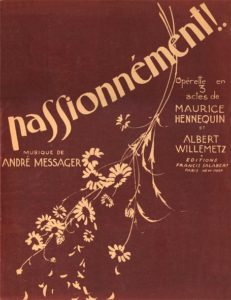 """The piano score for Messager's 1926 hit """"Passionnément!"""""""