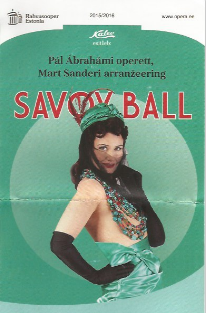 """Flyer for the """"Ball im Savoy"""" at the Estonian National Opera."""