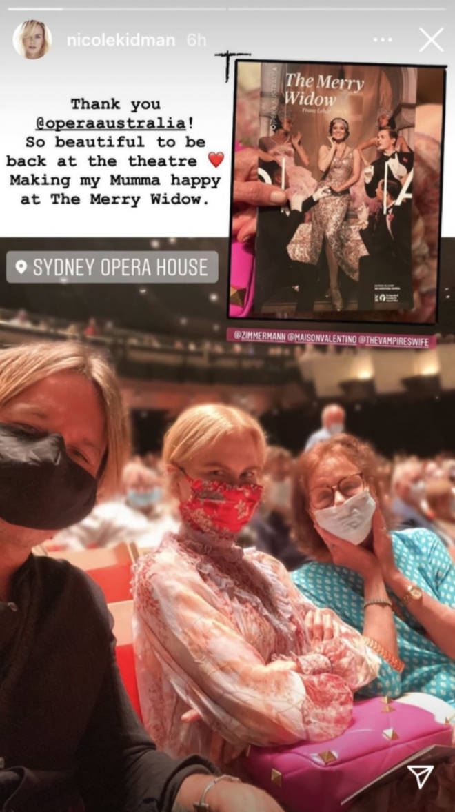 Hollywood star Nicole Kidman enjoyed a night at the opera in Sydney with her husband and mother. (Photo: Instagram/Nicole Kidman)