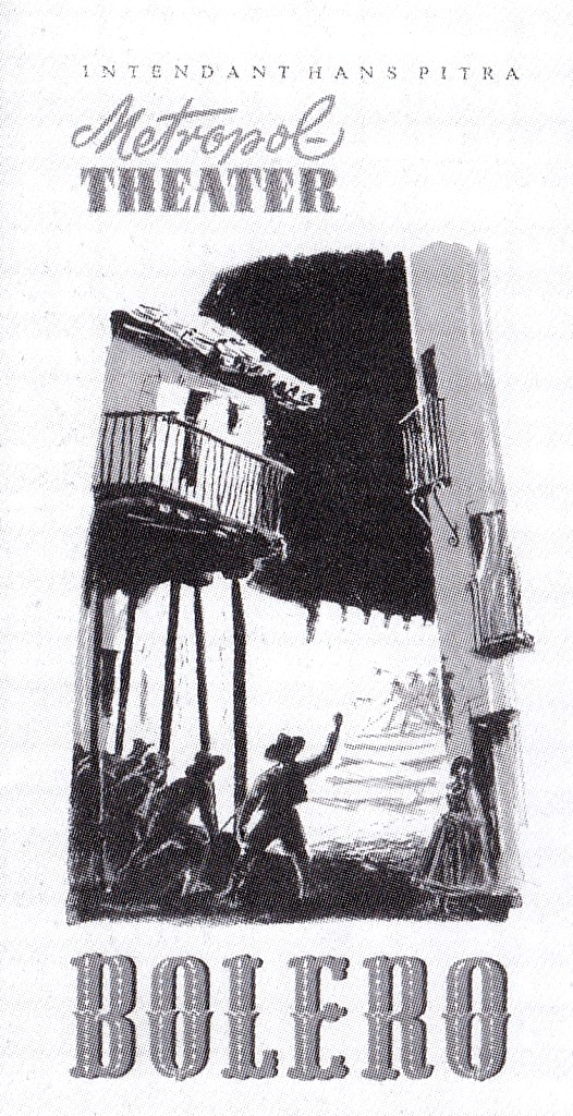 "Poster für di Originalproduktion von ""Bolero"" am Metropoltheater, 1952."