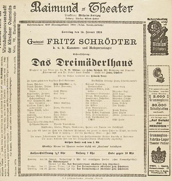 """Ankündigung der Uraufführung vom """"Dreimädernhaus"""" mit Kammer- und Hofopernsänger Fritz Schrödter als Franz Schubert, Wien 1916. (Foto: Theatermuseum Wien)"""