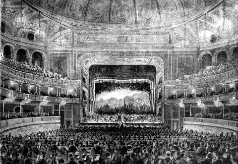 Innenansicht des Teatro Dal Verme, um 1875.