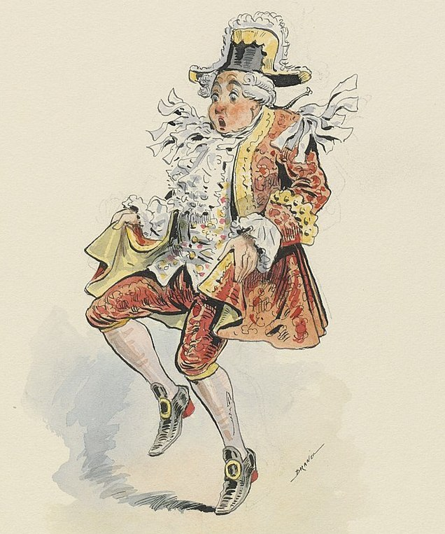 "Original costume design for the Marquis in ""L'œil crevé."""