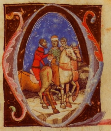 """Charles's arrival in Hungary, as depicted in the """"Illuminated Chronicle."""""""