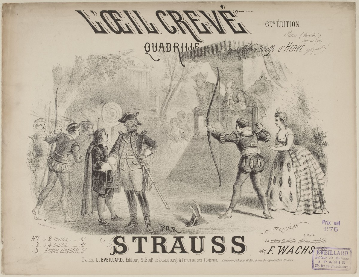 """Sheet music cover of a quardrille version of the hit tunes from Hervé's """"L'œil crevé"""" arranged by Strauss."""
