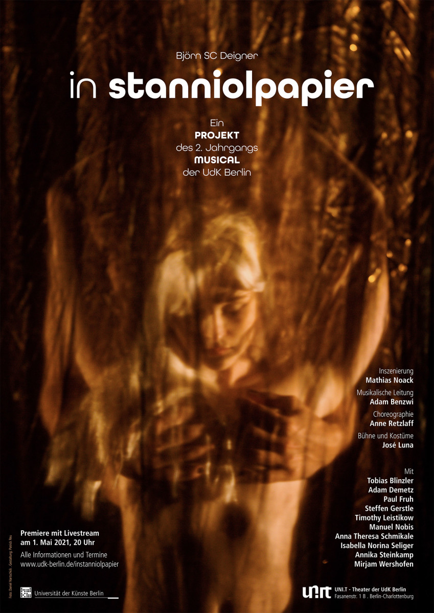 "The poster for the UdK production ""In Stanniolpapier,"" 2021. (Photo: Universität der Künste)"