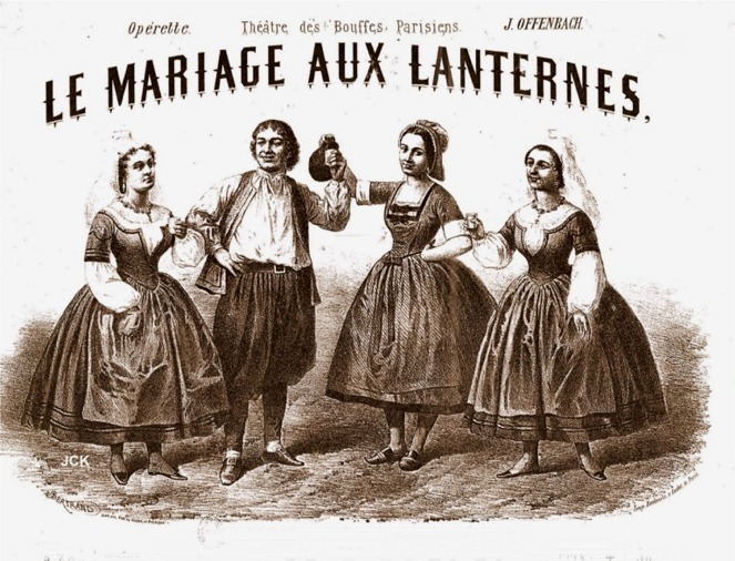 "Sheet music cover for Offenbach's ""Le Mariage aux Lanternes."""