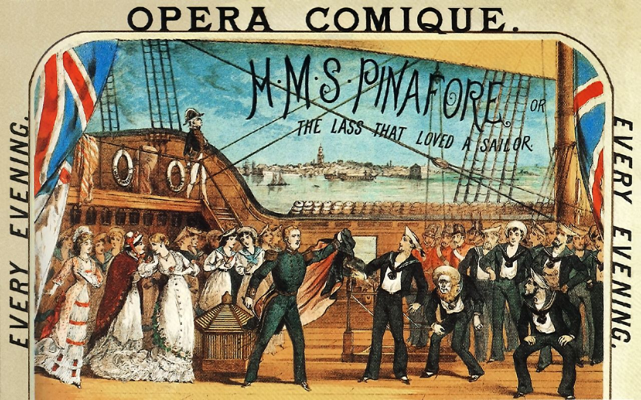 Poster illustration from the original 1878 production at at the Opera Comique in London.