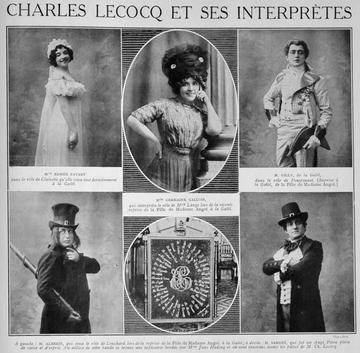"""Various French interpreters of """"La Fille de Madame Angot""""in a 1912 publicity compilation. (Photo: Palazzetto Bru Zane / Bibliothèque du conservatoire de Genève)"""