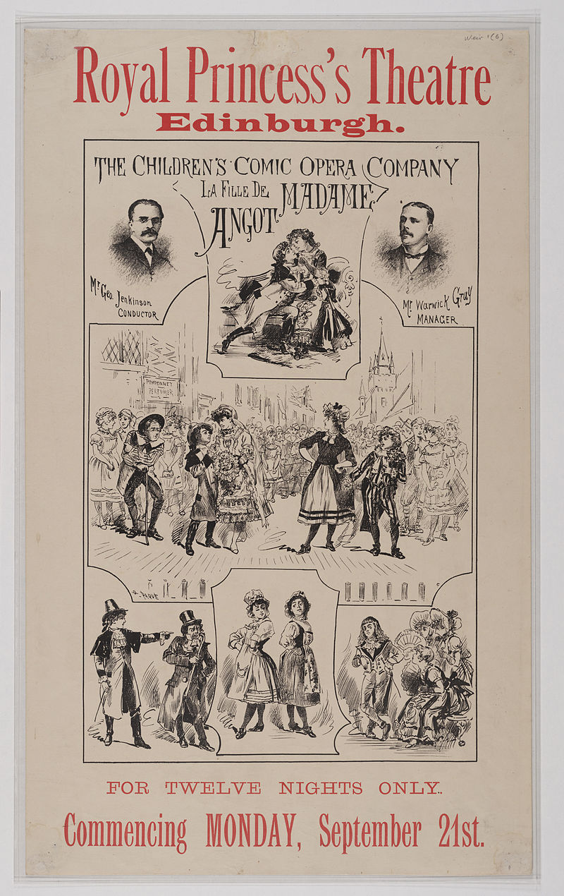 """Poster from a children's production in Edinburgh, 1885, of """"La Fille de Madame Angot."""" (Photo: Weir Collection)"""