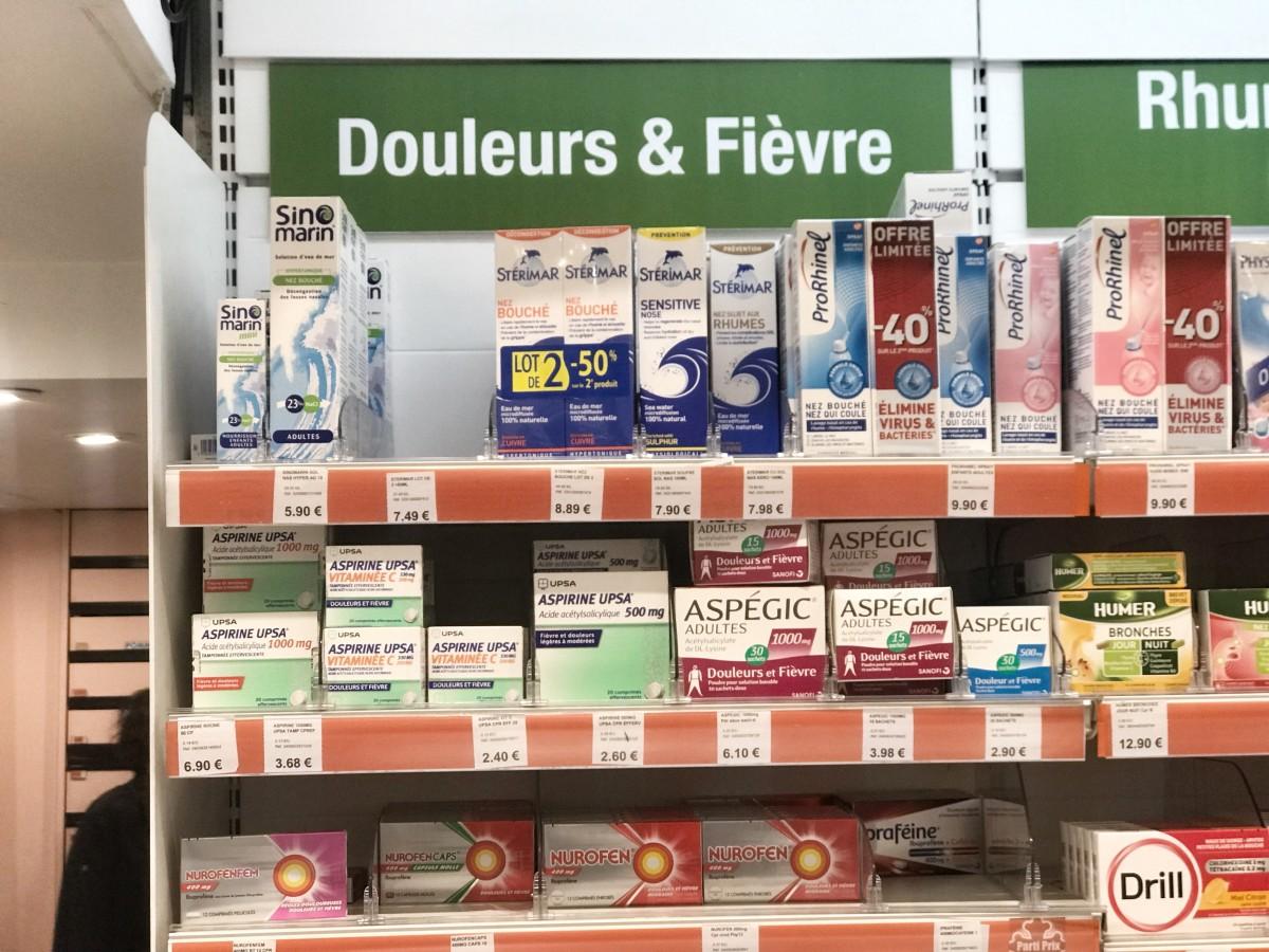 Products by UPSA (Union de Pharmacologie Scientifique Appliquée) in a Parisian pharmacy, 2021. (Photo: Private)