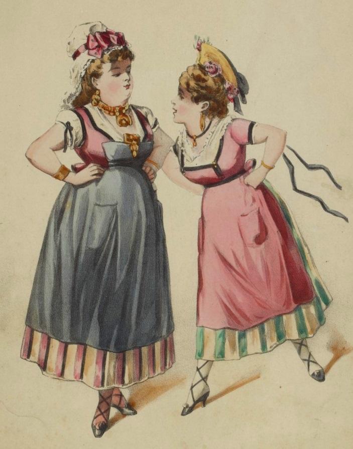 """Marie Desclauzas and Paola Marié in the 1873 Paris production of """"La Fille de Madame Angot."""" (Photo:  Théâtre des Folies Dramatique)"""