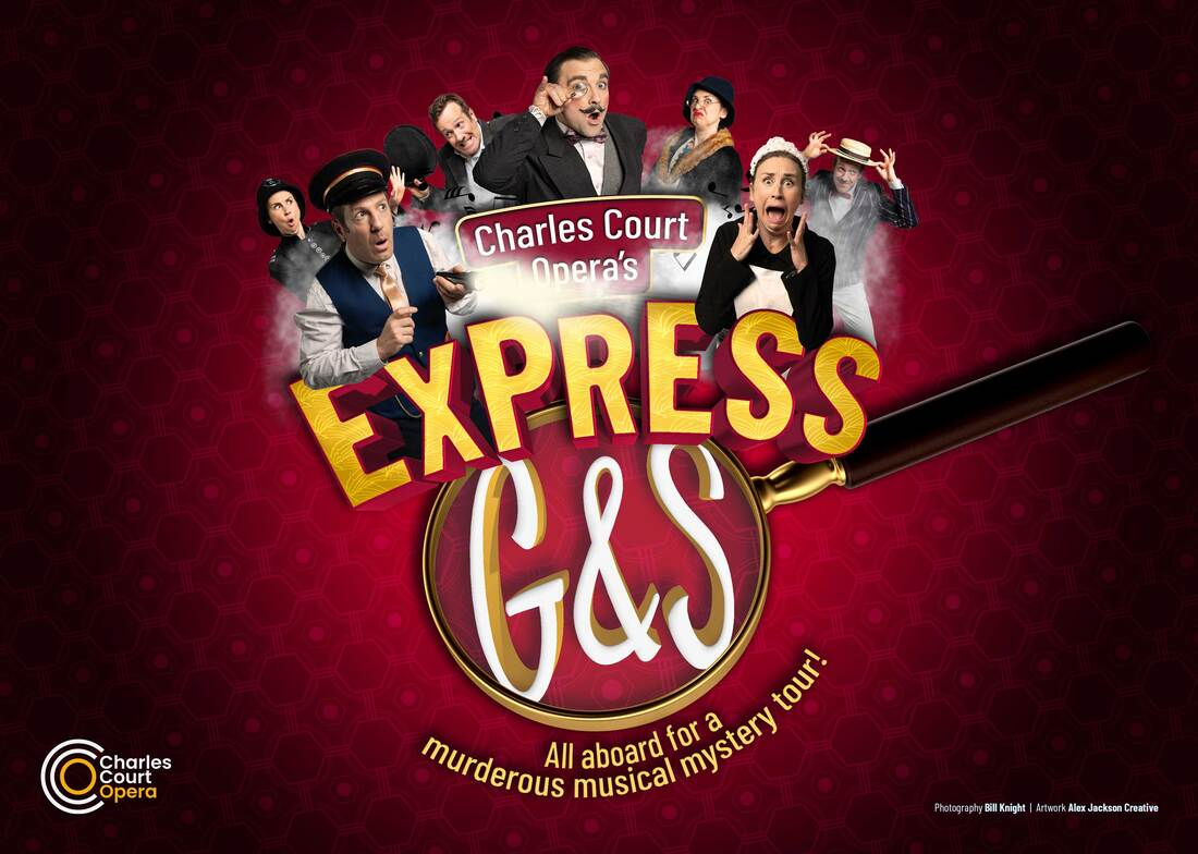 """The poster for """"Express G&S: All aboard for a murderous musical mystery tour."""" (Photo: Bill Knight, Artwork: Alex Jackson Creative / Charles Court Opera)"""