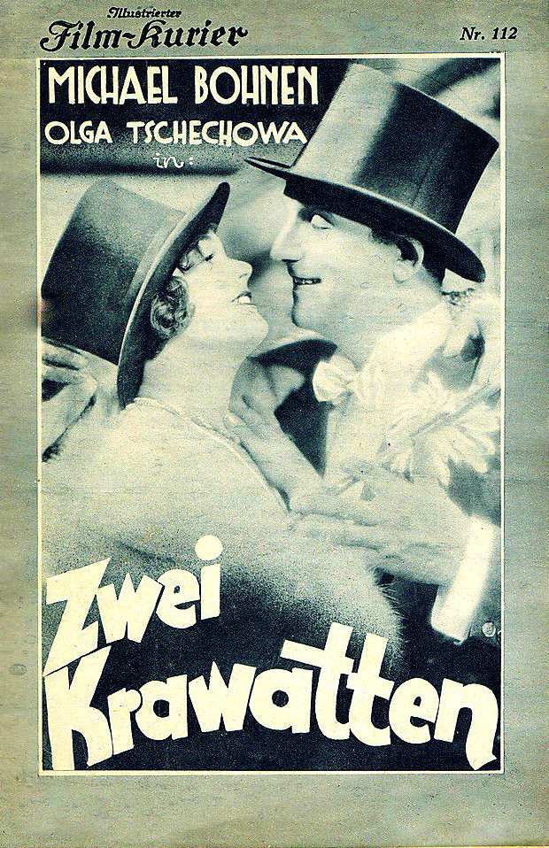 """A 1930 edition  of """"Film-Kurier"""" with a film version of Spoliansky's """"Zwei Krawatten"""" on the cover, starring Michael Bohnen."""