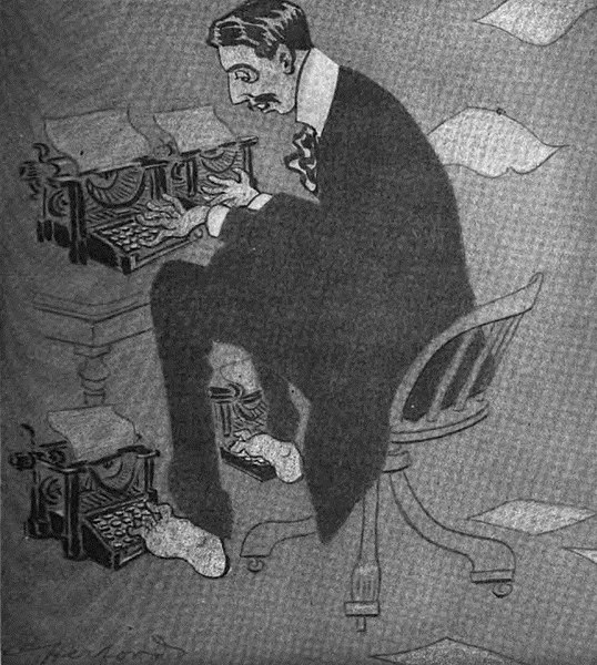 Caricature of Arnold Bennett at his type writer, around 1913. (Photo: The American Magazine)
