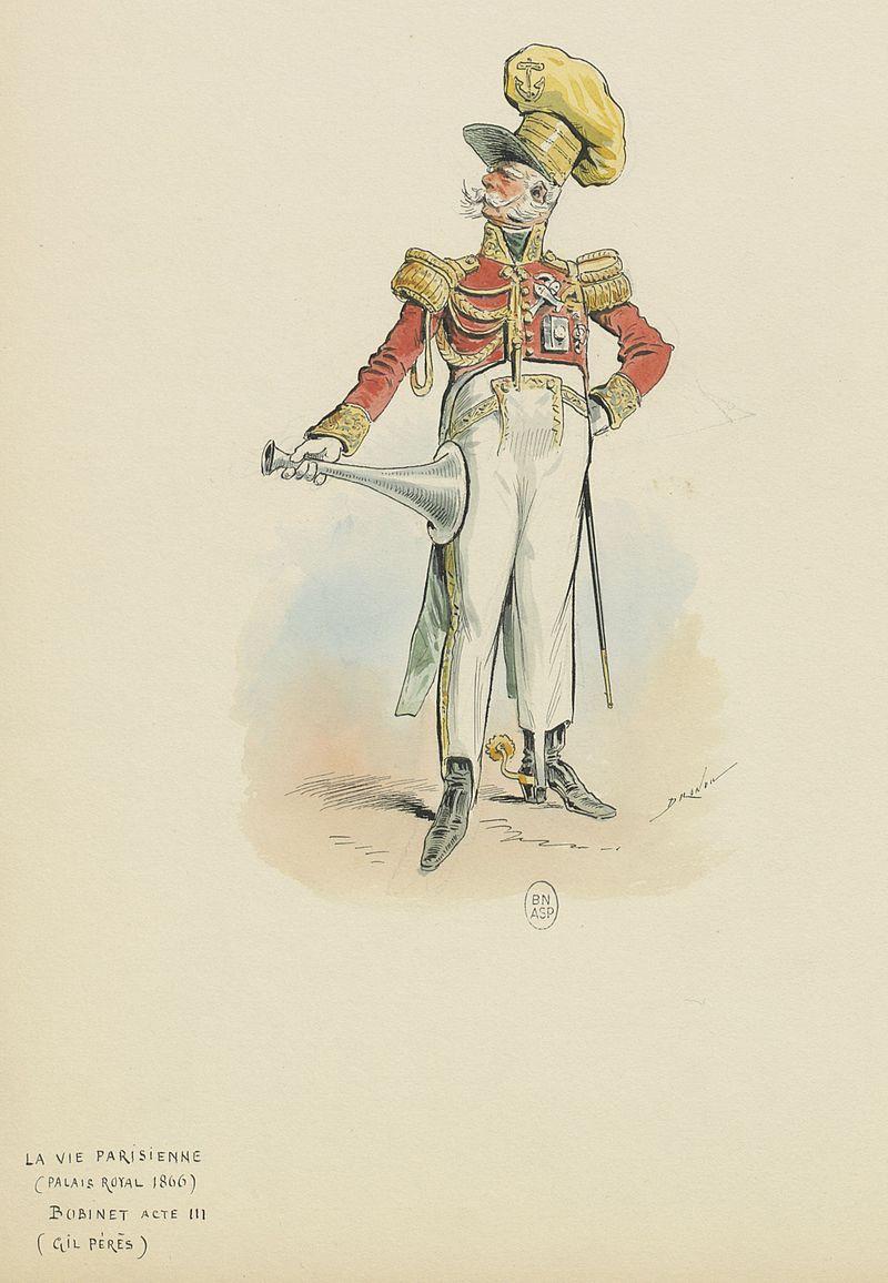 "Bobinet as the admiral in act 3 of ""La Vie parisienne"", costume design by Draner. (Photo: Bibliothèque nationale de France)"