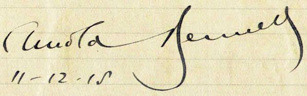 Arnold Bennett's signature, from 1915. (Photo: Wiki Commons)