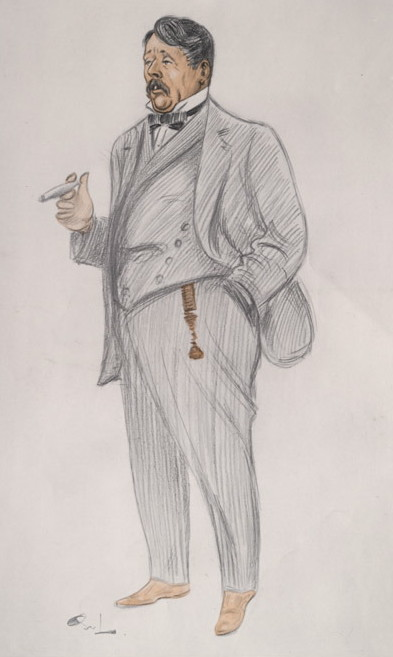 """Caricature of Arnold Bennett in """"Vanity Fair"""" in the section """"Men of the Day,"""" April 1913."""