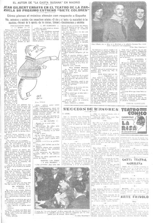 "Photo report on the rehearsals of ""Siete colores"" directed by Jean Gilbert at the Teatro de la Zarzuela / Madrid, 1934. (Photo: Díaz Casariego [photographer], Del Arco (caricaturist). Heraldo de Madrid. Biblioteca Nacional de España)"