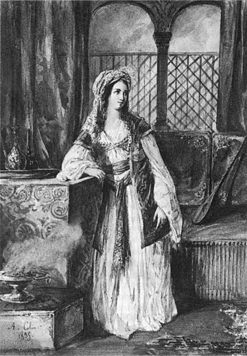 """Cornélie Falcon as Rachel, the title role in Halévy's """"La Juive,"""" portrait by A.Colin (1835)."""